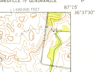 Reduced fragment of topographic map en--usgs--024k--008954--(1951)--N036-37-30_W087-22-30--N036-30-00_W087-15-00; towns and cities Clarksville