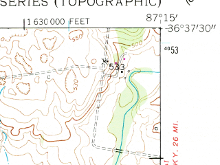 Reduced fragment of topographic map en--usgs--024k--008954--(1957)--N036-37-30_W087-22-30--N036-30-00_W087-15-00; towns and cities Clarksville