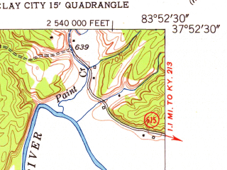 Reduced fragment of topographic map en--usgs--024k--008995--(1952)--N037-52-30_W084-00-00--N037-45-00_W083-52-30; towns and cities Clay City
