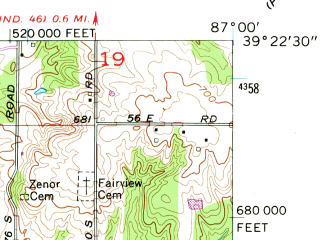 Reduced fragment of topographic map en--usgs--024k--008996--(1957)--N039-22-30_W087-07-30--N039-15-00_W087-00-00; towns and cities Clay City