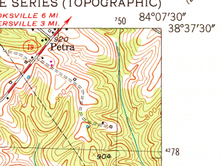 Reduced fragment of topographic map en--usgs--024k--009009--(1952)--N038-37-30_W084-15-00--N038-30-00_W084-07-30
