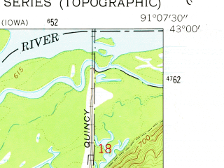 Reduced fragment of topographic map en--usgs--024k--009010--(1962)--N043-00-00_W091-15-00--N042-52-30_W091-07-30; towns and cities Clayton