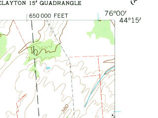 Reduced fragment of topographic map en--usgs--024k--009013--(1958)--N044-15-00_W076-07-30--N044-07-30_W076-00-00; towns and cities Clayton