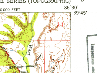 Reduced fragment of topographic map en--usgs--024k--009016--(1953)--N039-45-00_W086-37-30--N039-37-30_W086-30-00; towns and cities Amo, Clayton