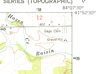 Reduced fragment of topographic map en--usgs--024k--009025--(1962)--N041-52-30_W084-15-00--N041-45-00_W084-07-30; towns and cities Clayton