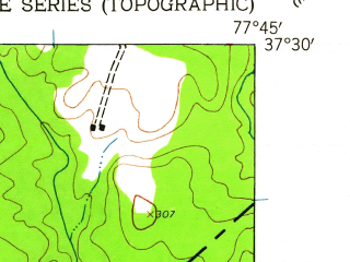 Reduced fragment of topographic map en--usgs--024k--009037--(1943)--N037-30-00_W077-52-30--N037-22-30_W077-45-00