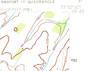 Reduced fragment of topographic map en--usgs--024k--009065--(1955)--N039-45-00_W078-00-00--N039-37-30_W077-52-30; towns and cities Clear Spring