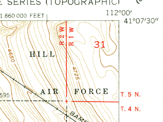 Reduced fragment of topographic map en--usgs--024k--009073--(1955)--N041-07-30_W112-07-30--N041-00-00_W112-00-00; towns and cities Clearfield, Syracuse, West Point