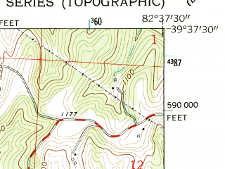 Reduced fragment of topographic map en--usgs--024k--009079--(1961)--N039-37-30_W082-45-00--N039-30-00_W082-37-30