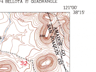 Reduced fragment of topographic map en--usgs--024k--009101--(1952)--N038-15-00_W121-07-30--N038-07-30_W121-00-00