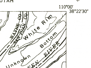 Reduced fragment of topographic map en--usgs--024k--009115--(1953)--N038-22-30_W110-07-30--N038-15-00_W110-00-00