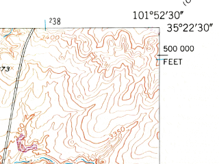 Reduced fragment of topographic map en--usgs--024k--009164--(1953)--N035-22-30_W102-00-00--N035-15-00_W101-52-30