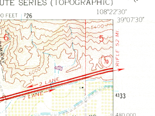 Reduced fragment of topographic map en--usgs--024k--009171--(1962)--N039-07-30_W108-30-00--N039-00-00_W108-22-30; towns and cities Clifton, Fruitvale