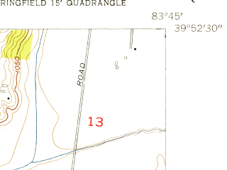 Reduced fragment of topographic map en--usgs--024k--009174--(1954)--N039-52-30_W083-52-30--N039-45-00_W083-45-00; towns and cities Clifton