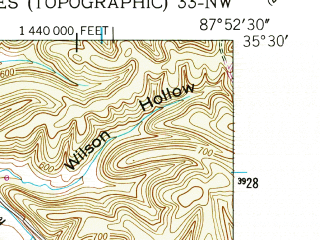 Reduced fragment of topographic map en--usgs--024k--009175--(1949)--N035-30-00_W088-00-00--N035-22-30_W087-52-30; towns and cities Clifton