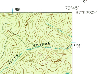 Reduced fragment of topographic map en--usgs--024k--009180--(1962)--N037-52-30_W079-52-30--N037-45-00_W079-45-00; towns and cities Iron Gate, Clifton Forge