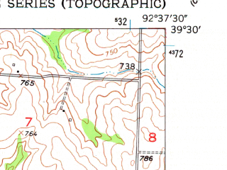 Reduced fragment of topographic map en--usgs--024k--009181--(1953)--N039-30-00_W092-45-00--N039-22-30_W092-37-30; towns and cities Clifton Hill