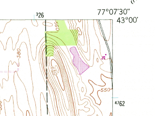 Reduced fragment of topographic map en--usgs--024k--009183--(1951)--N043-00-00_W077-15-00--N042-52-30_W077-07-30; towns and cities Clifton Springs, Manchester, Shortsville