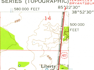 Reduced fragment of topographic map en--usgs--024k--009185--(1956)--N038-52-30_W085-30-00--N038-45-00_W085-22-30; towns and cities Madison