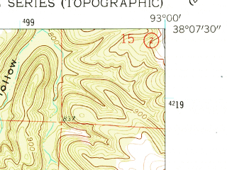 Reduced fragment of topographic map en--usgs--024k--009193--(1960)--N038-07-30_W093-07-30--N038-00-00_W093-00-00; towns and cities Climax Springs