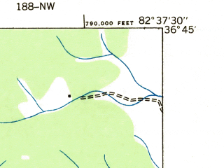 Reduced fragment of topographic map en--usgs--024k--009196--(1935)--N036-45-00_W082-45-00--N036-37-30_W082-37-30; towns and cities Clinchport