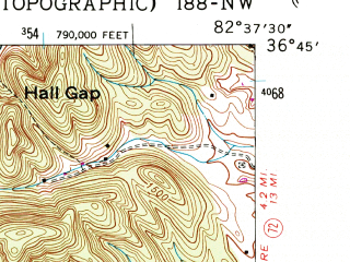Reduced fragment of topographic map en--usgs--024k--009196--(1947)--N036-45-00_W082-45-00--N036-37-30_W082-37-30; towns and cities Clinchport