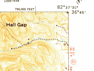 Reduced fragment of topographic map en--usgs--024k--009196--(1950)--N036-45-00_W082-45-00--N036-37-30_W082-37-30; towns and cities Clinchport