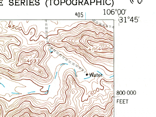 Reduced fragment of topographic map en--usgs--024k--009202--(1955)--N031-45-00_W106-07-30--N031-37-30_W106-00-00