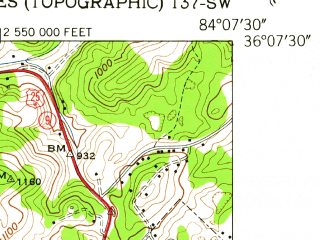Reduced fragment of topographic map en--usgs--024k--009223--(1952)--N036-07-30_W084-15-00--N036-00-00_W084-07-30; towns and cities Clinton