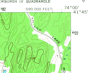 Reduced fragment of topographic map en--usgs--024k--009233--(1957)--N041-45-00_W074-07-30--N041-37-30_W074-00-00; towns and cities New Paltz, Clintondale