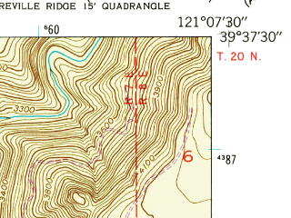 Reduced fragment of topographic map en--usgs--024k--009244--(1948)--N039-37-30_W121-15-00--N039-30-00_W121-07-30