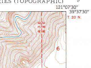 Reduced fragment of topographic map en--usgs--024k--009244--(1950)--N039-37-30_W121-15-00--N039-30-00_W121-07-30
