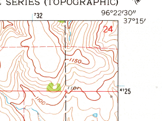 Reduced fragment of topographic map en--usgs--024k--009278--(1962)--N037-15-00_W096-30-00--N037-07-30_W096-22-30