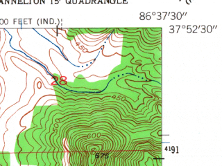 Reduced fragment of topographic map en--usgs--024k--009284--(1953)--N037-52-30_W086-45-00--N037-45-00_W086-37-30; towns and cities Cloverport