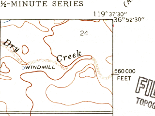 Reduced fragment of topographic map en--usgs--024k--009286--(1946)--N036-52-30_W119-45-00--N036-45-00_W119-37-30; towns and cities Clovis