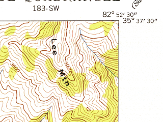 Reduced fragment of topographic map en--usgs--024k--009301--(1942)--N035-37-30_W083-00-00--N035-30-00_W082-52-30; towns and cities Clyde, Lake Junaluska