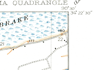 Reduced fragment of topographic map en--usgs--024k--009311--(1908)--N034-22-30_W090-37-30--N034-15-00_W090-30-00; towns and cities Coahoma