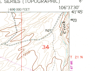 Reduced fragment of topographic map en--usgs--024k--009313--(1955)--N041-45-00_W106-45-00--N041-37-30_W106-37-30