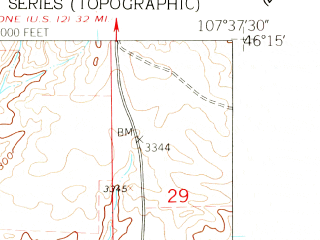 Reduced fragment of topographic map en--usgs--024k--009314--(1960)--N046-15-00_W107-45-00--N046-07-30_W107-37-30