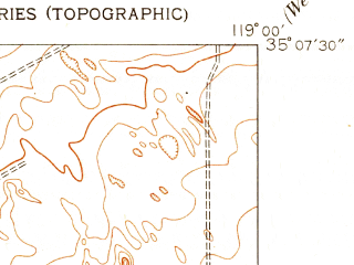 Reduced fragment of topographic map en--usgs--024k--009336--(1950)--N035-07-30_W119-07-30--N035-00-00_W119-00-00