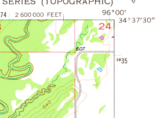 Reduced fragment of topographic map en--usgs--024k--009346--(1957)--N034-37-30_W096-07-30--N034-30-00_W096-00-00