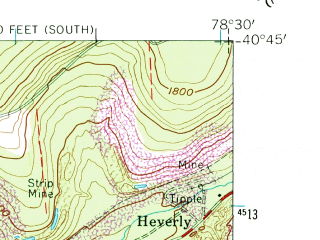 Reduced fragment of topographic map en--usgs--024k--009350--(1961)--N040-45-00_W078-37-30--N040-37-30_W078-30-00 in area of Glendale Lake; towns and cities Coalport