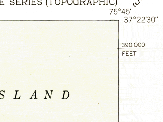 Reduced fragment of topographic map en--usgs--024k--009367--(1942)--N037-22-30_W075-52-30--N037-15-00_W075-45-00
