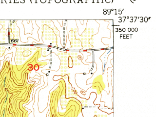 Reduced fragment of topographic map en--usgs--024k--009372--(1948)--N037-37-30_W089-22-30--N037-30-00_W089-15-00; towns and cities Alto Pass, Cobden