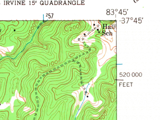 Reduced fragment of topographic map en--usgs--024k--009375--(1952)--N037-45-00_W083-52-30--N037-37-30_W083-45-00