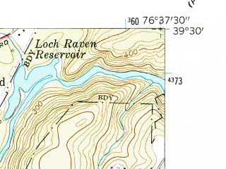 Reduced fragment of topographic map en--usgs--024k--009402--(1957)--N039-30-00_W076-45-00--N039-22-30_W076-37-30; towns and cities Pikesville, Cockeysville, Mays Chapel, Garrison