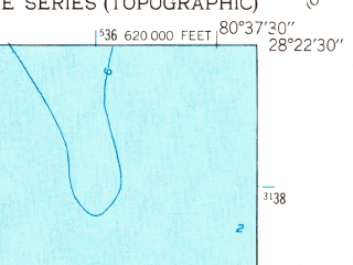 Reduced fragment of topographic map en--usgs--024k--009406--(1949)--N028-22-30_W080-45-00--N028-15-00_W080-37-30; towns and cities Merritt Island, Rockledge