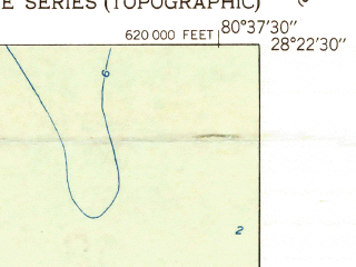 Reduced fragment of topographic map en--usgs--024k--009406--(1951)--N028-22-30_W080-45-00--N028-15-00_W080-37-30; towns and cities Merritt Island, Rockledge