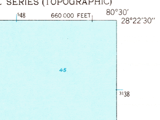 Reduced fragment of topographic map en--usgs--024k--009407--(1949)--N028-22-30_W080-37-30--N028-15-00_W080-30-00; towns and cities Cocoa Beach