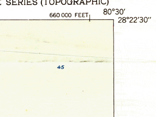 Reduced fragment of topographic map en--usgs--024k--009407--(1951)--N028-22-30_W080-37-30--N028-15-00_W080-30-00; towns and cities Cocoa Beach